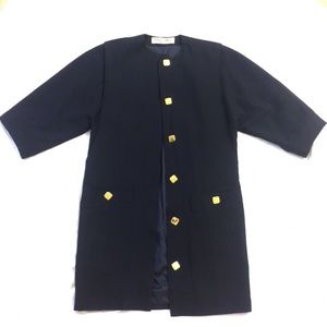 Vintage CHRISTIAN DIOR Navy Blue Trench Coat